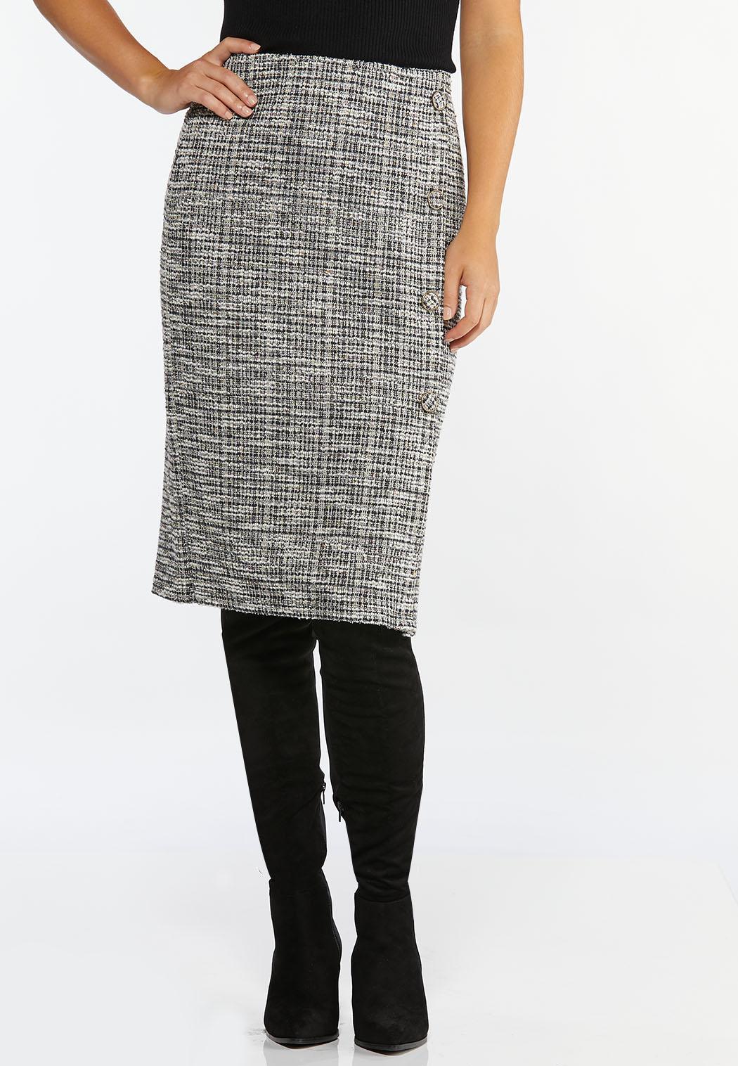 Plus Size Boucle Button Pencil Skirt (Item #44413504)