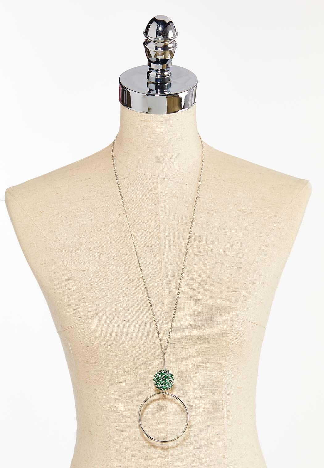 Green Druzy Pendant Necklace (Item #44413765)