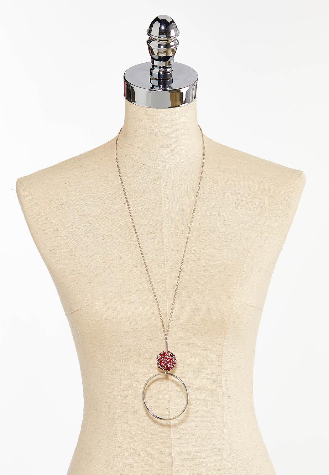 Red Druzy Pendant Necklace (Item #44413793)