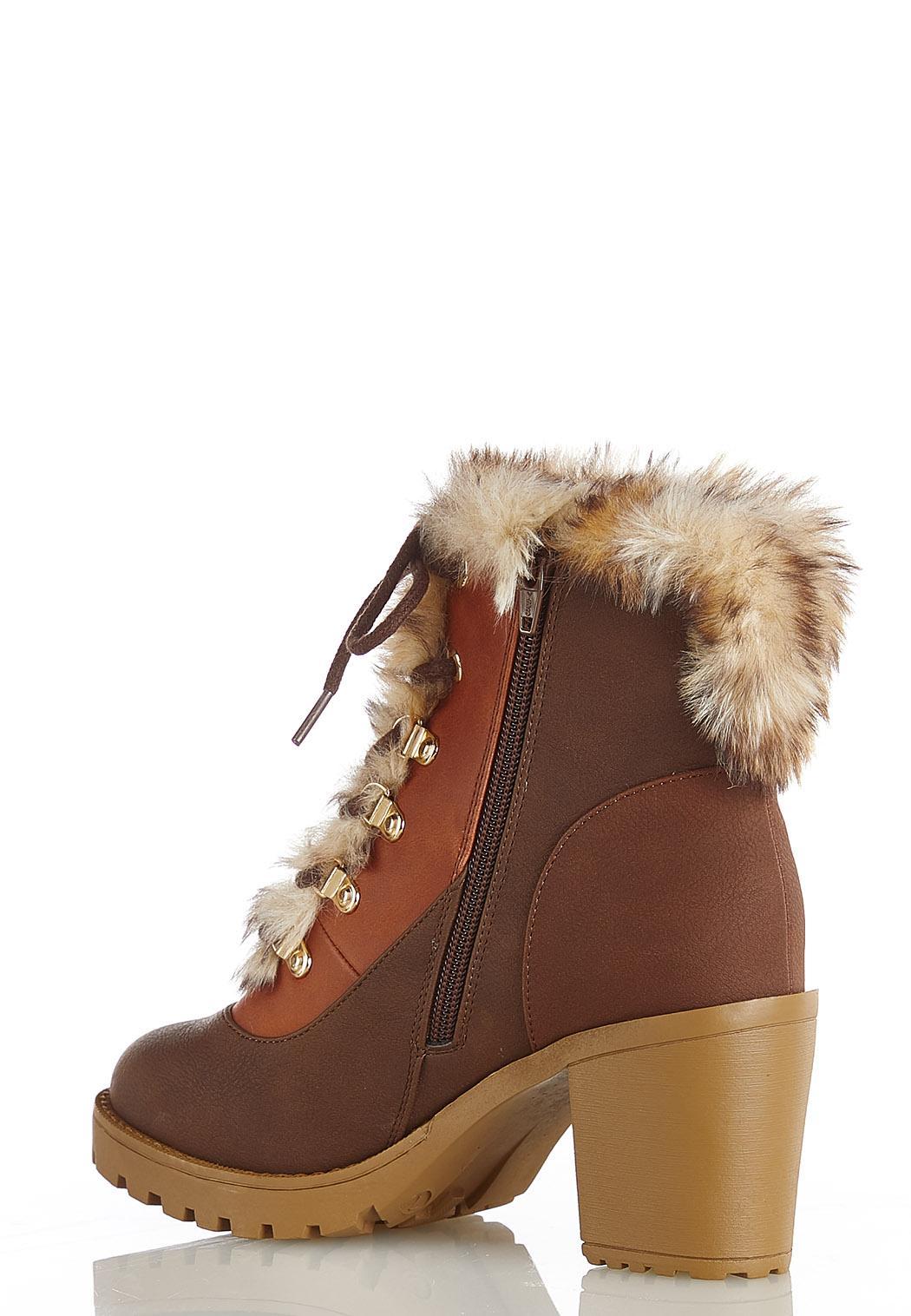 Fur Colorblock Hiker Boots (Item #44414445)