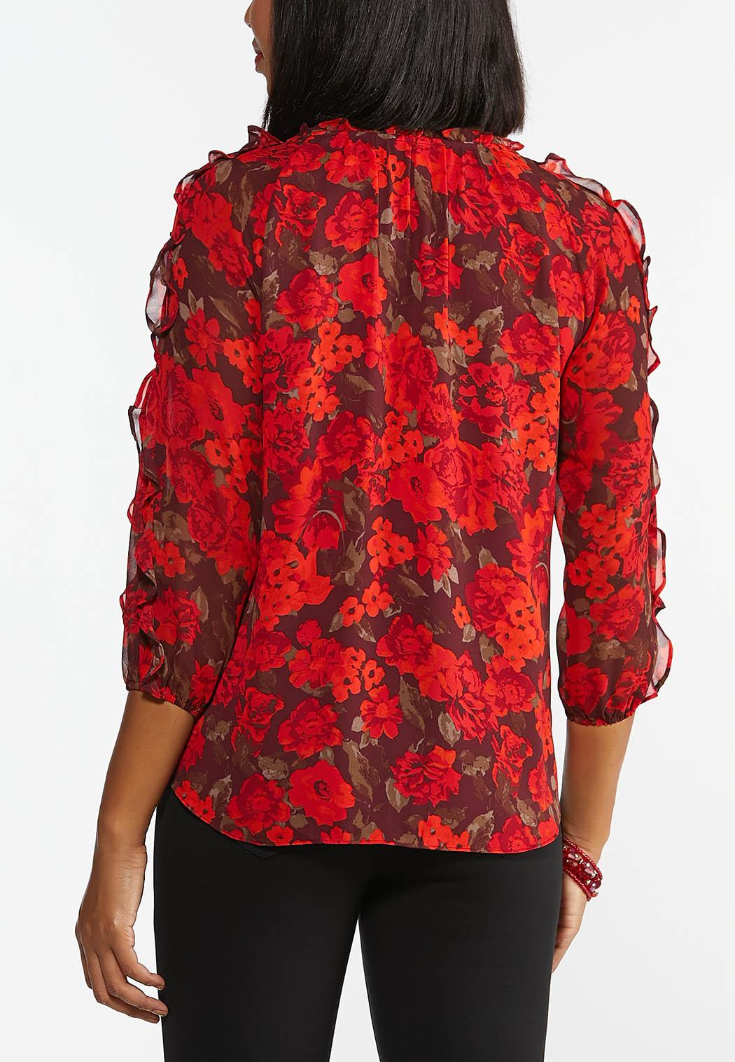 Plus Size Red Ruffled Cold Should Top (Item #44416344)