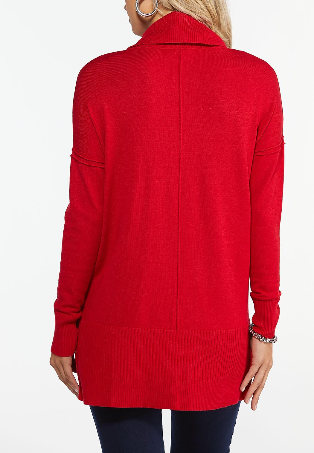 Plus Size Ribbed Cowl Neck Tunic (Item #44416753)