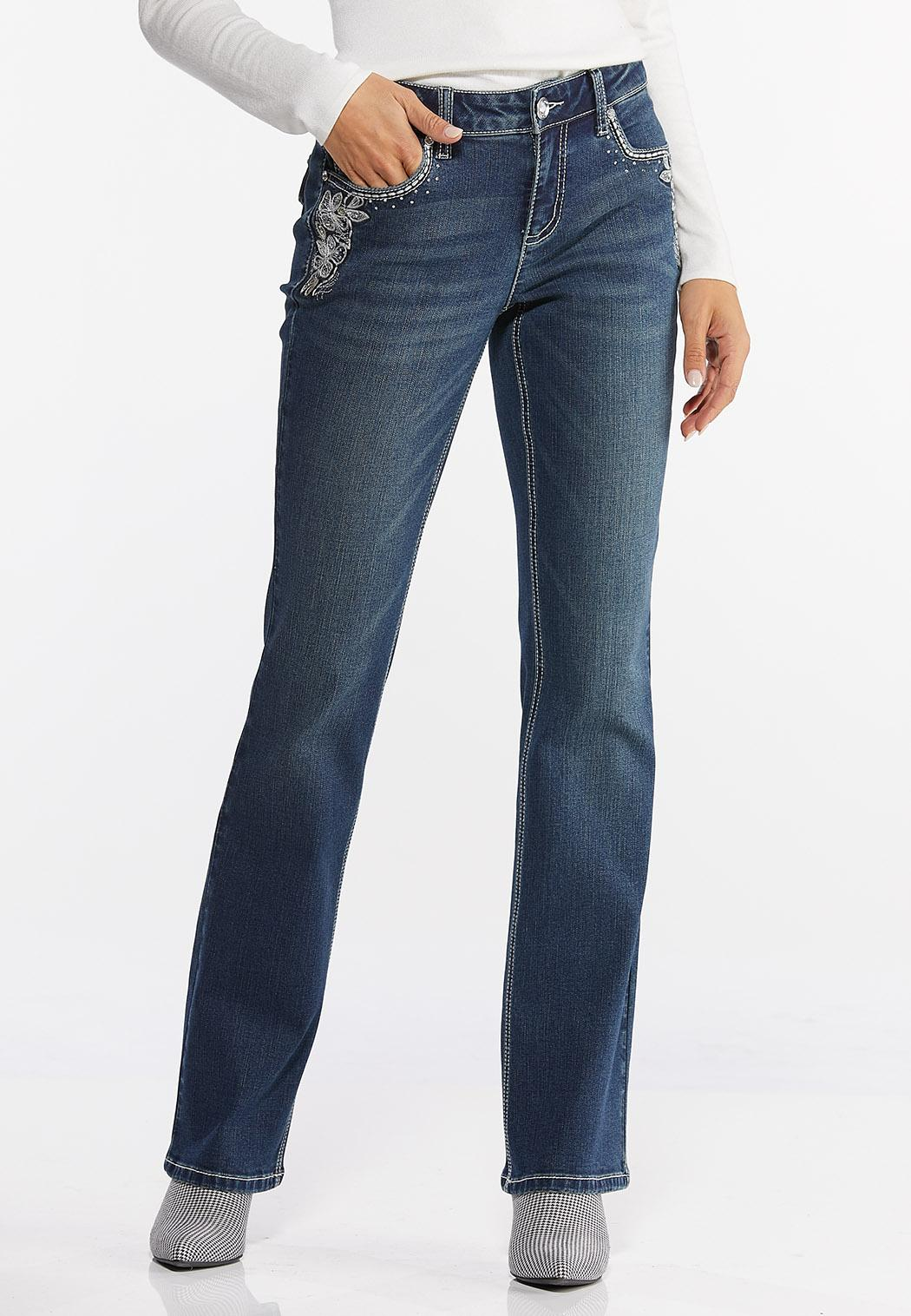 Floral Embroidered Bootcut Jeans (Item #44418349)