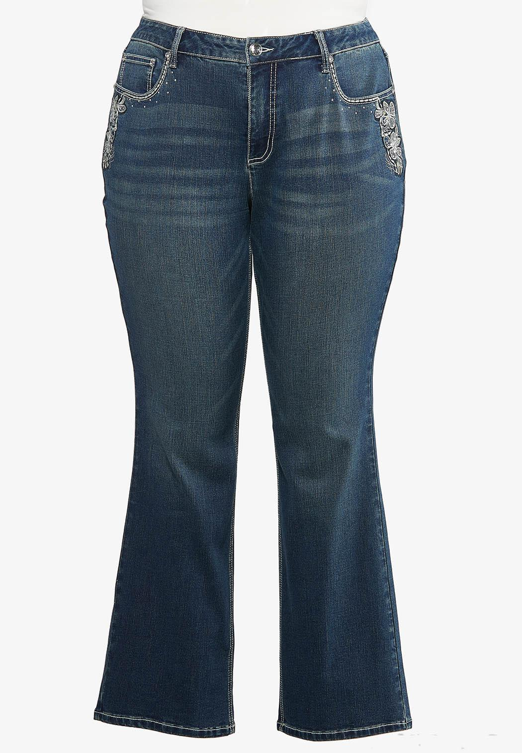 Plus Petite Floral Embroidered Bootcut Jeans (Item #44418400)