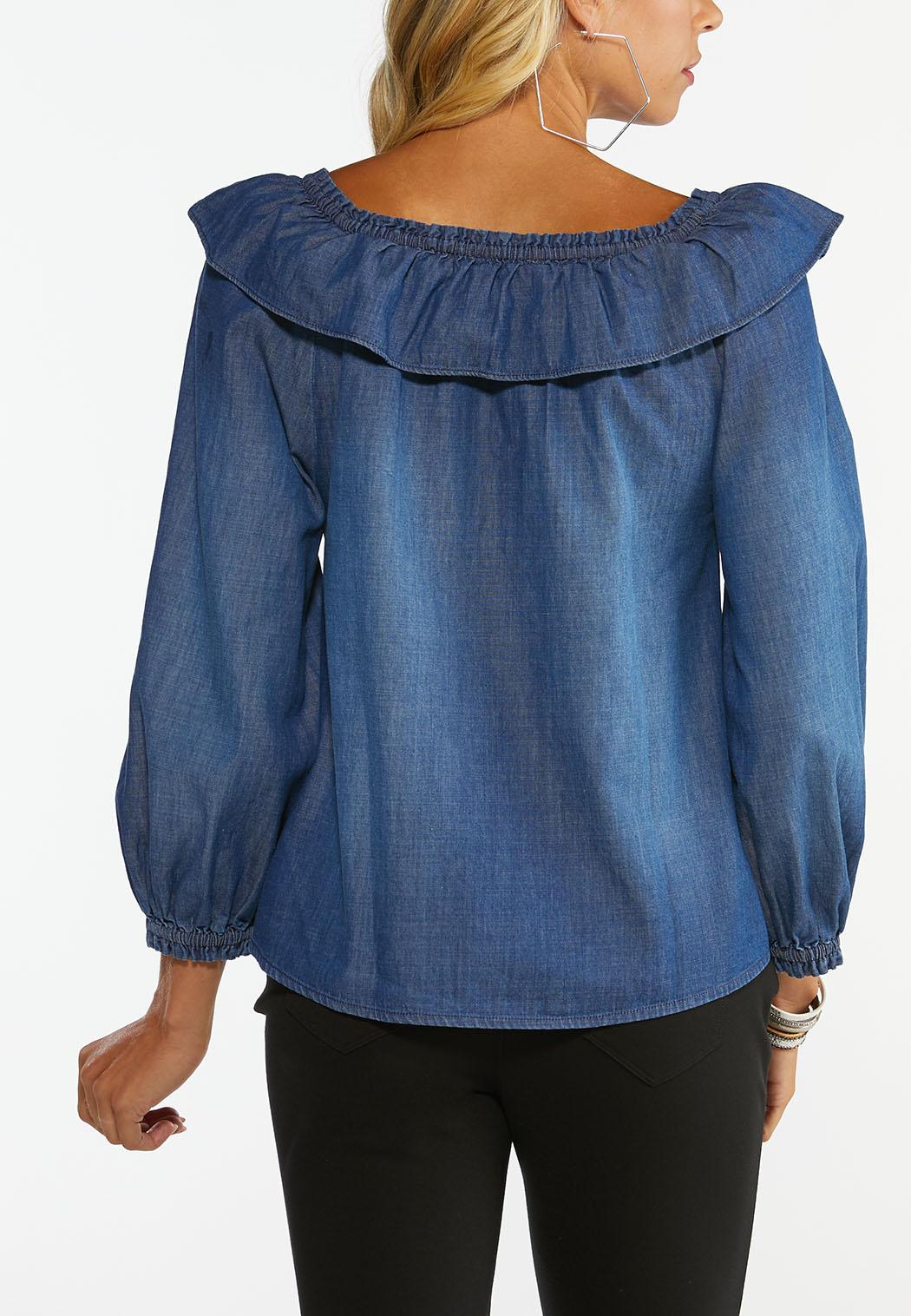 Plus Size Convertible Chambray Poet Top (Item #44419540)