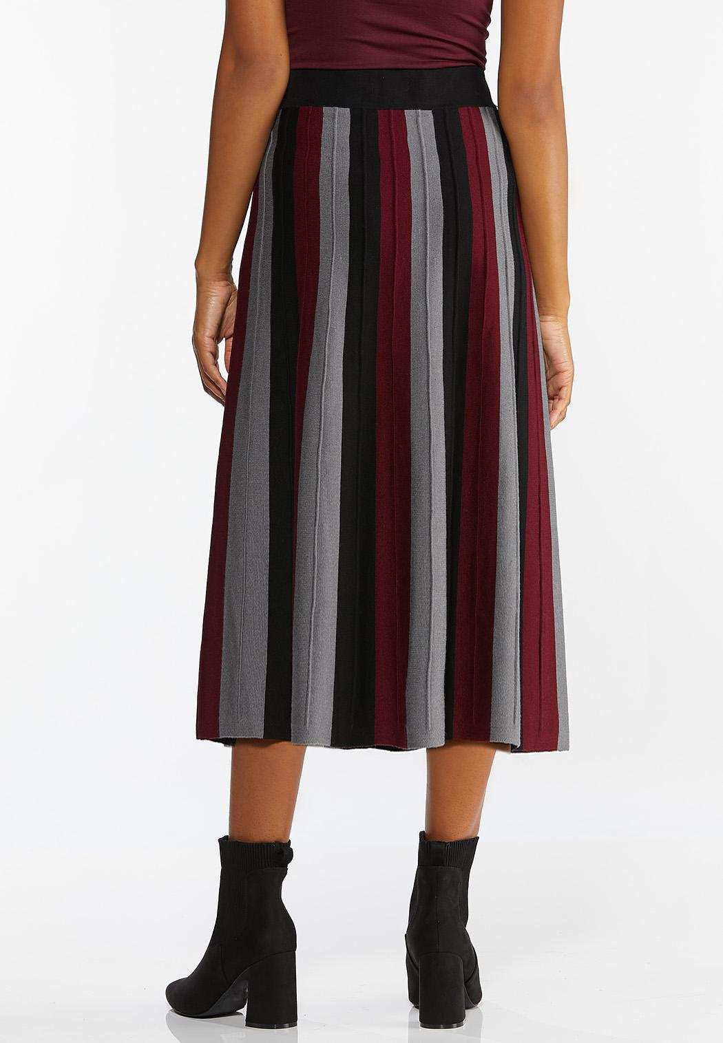 Plus Size Stripe Sweater Skirt (Item #44420425)