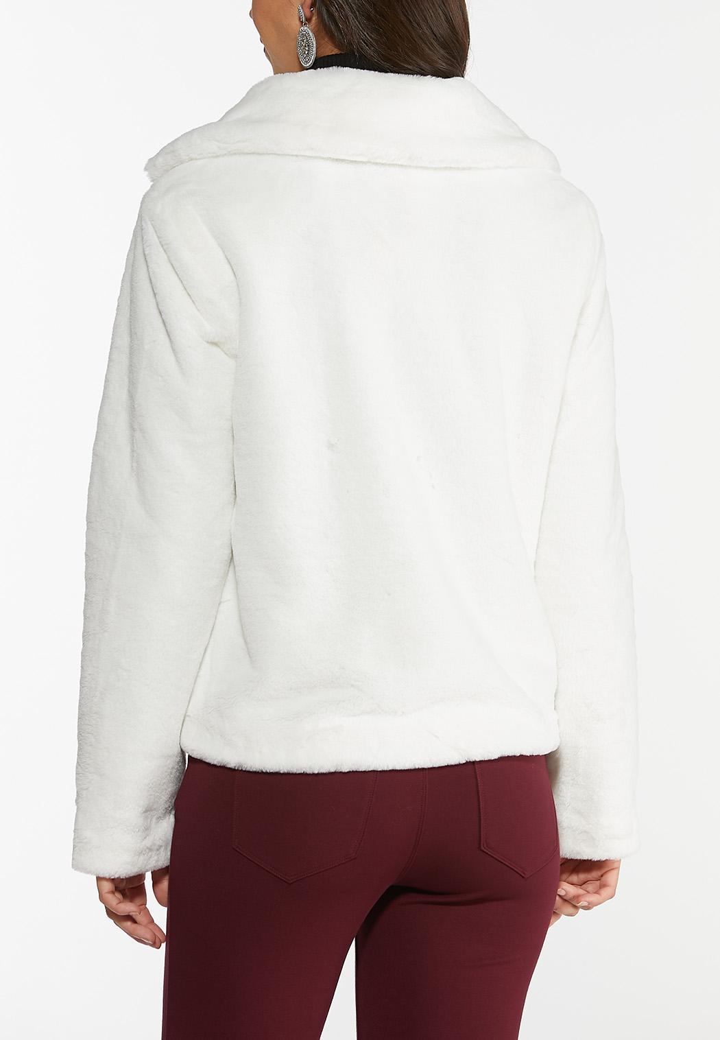 Plus Size Furry Ivory Coat (Item #44421771)
