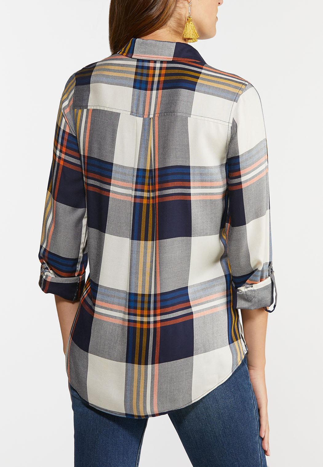 Plus Size Plaid Button Down Shirt (Item #44421855)
