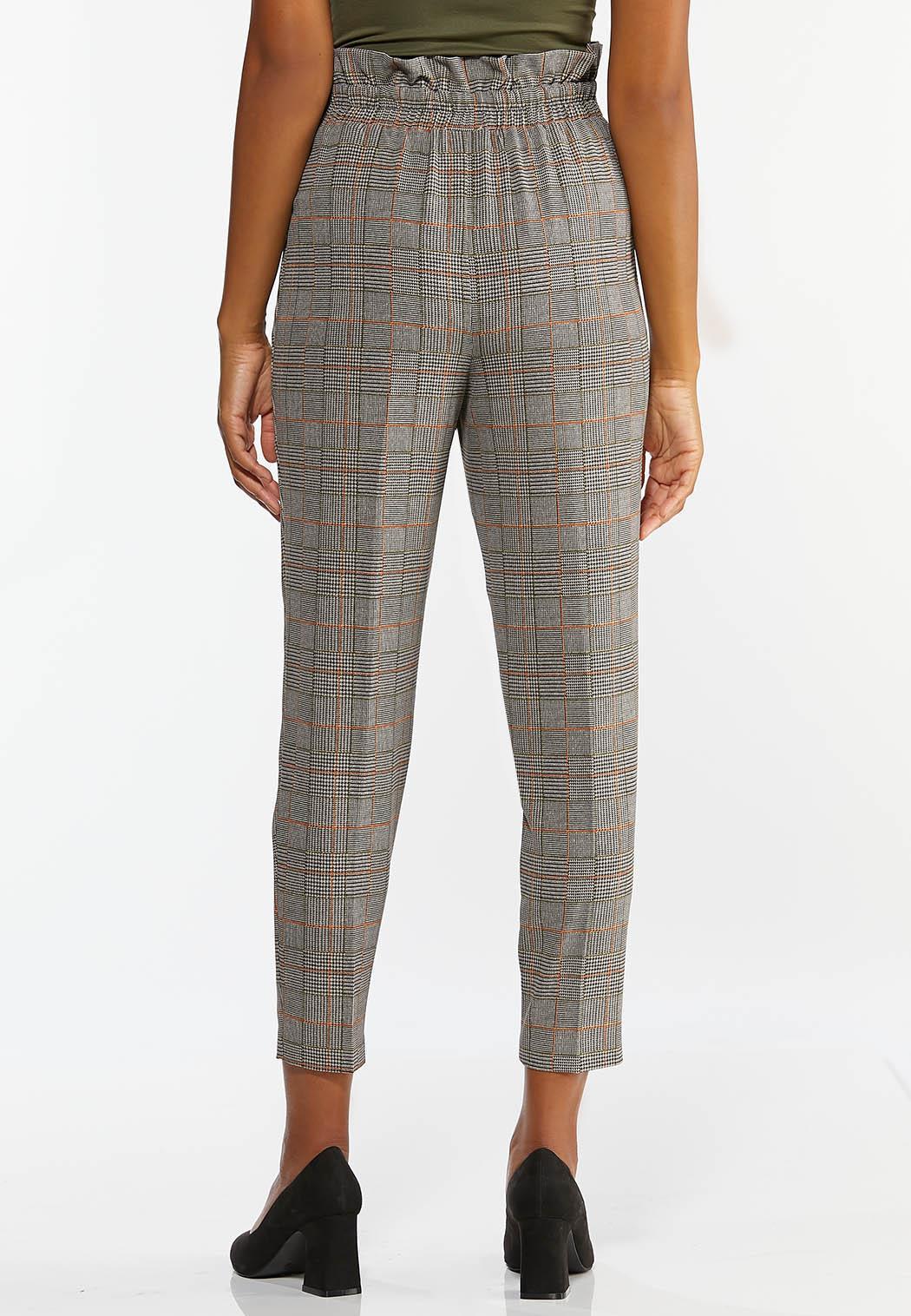 Plaid Paperbag Waist Ankle Pants (Item #44422252)