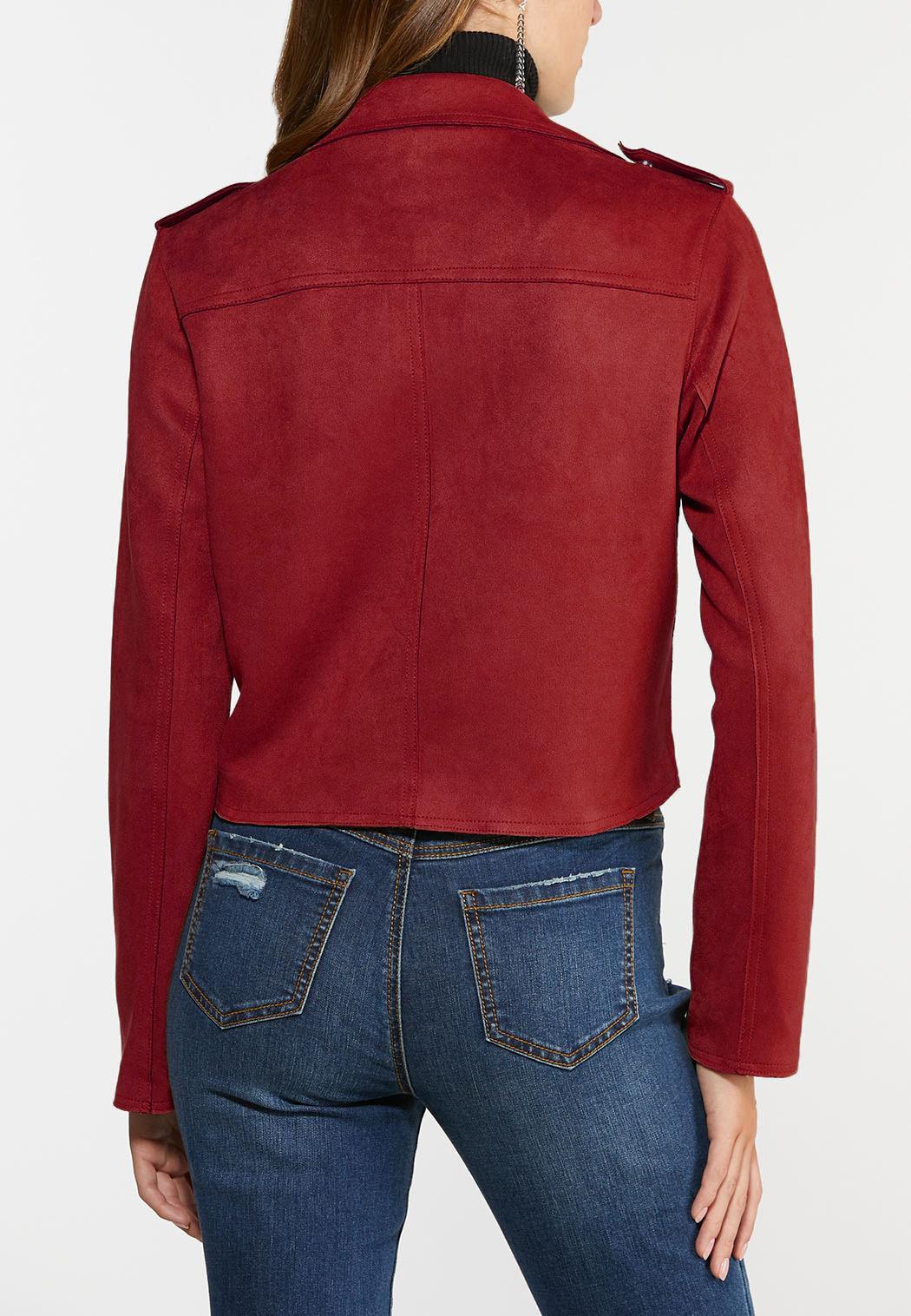 Plus Size Faux Suede Moto Jacket (Item #44422474)
