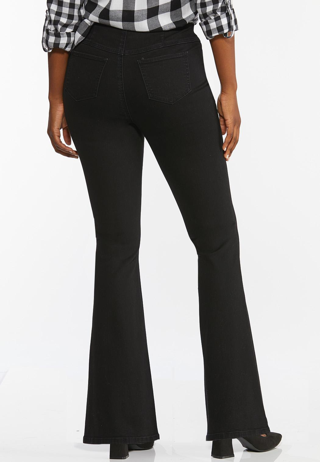 Black Pull-On Flare Jeans (Item #44422800)