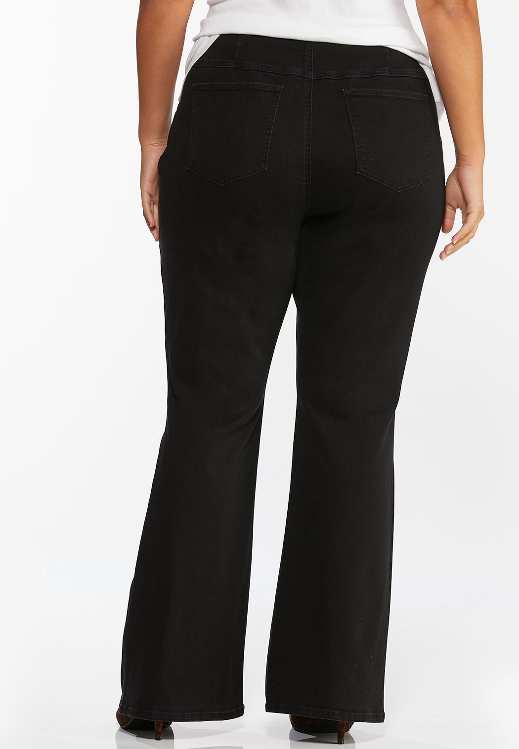 Plus Size Black Pull-On Flare Jeans (Item #44422845)