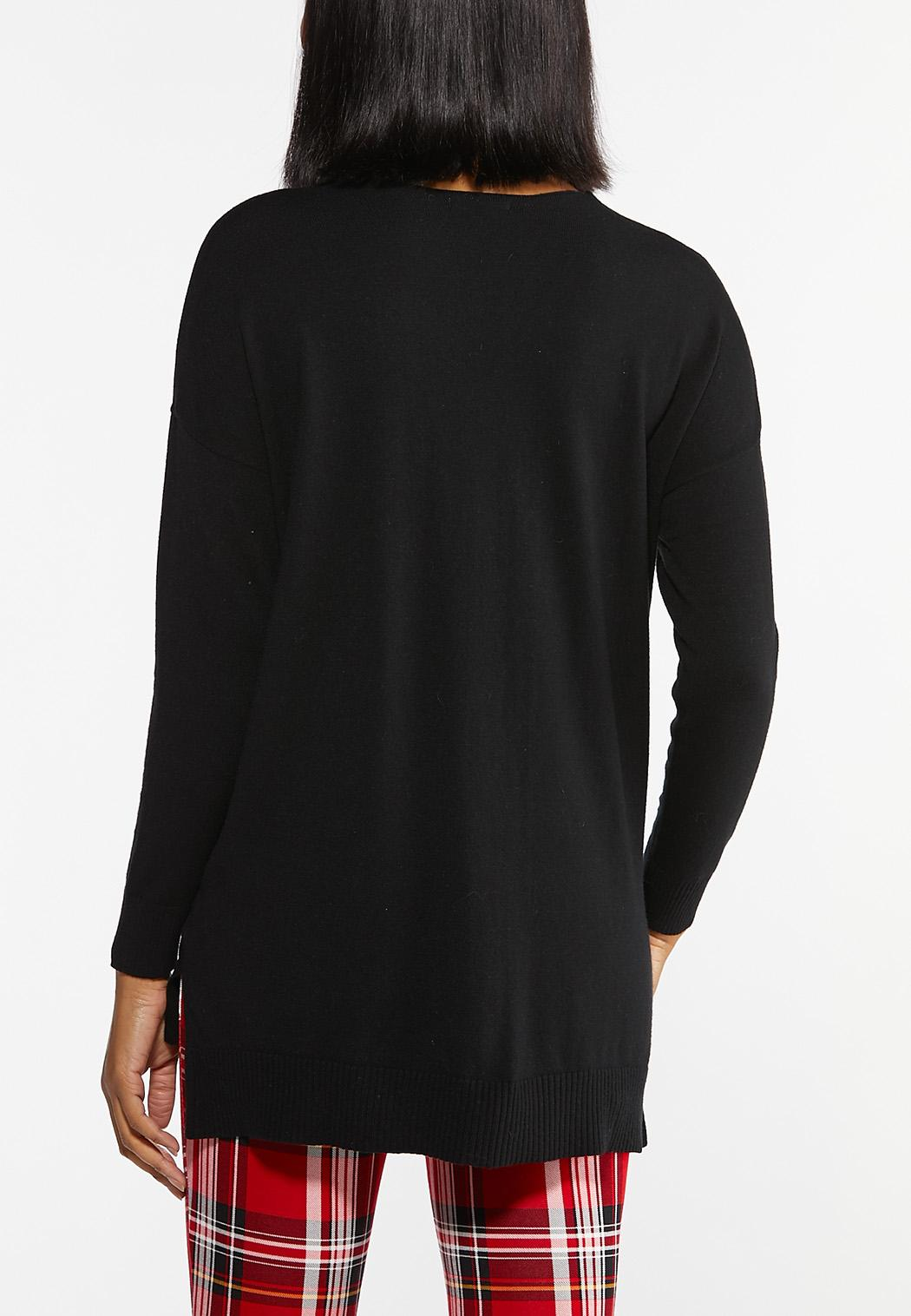Plus Size Solid V-Neck Sweater (Item #44424604)