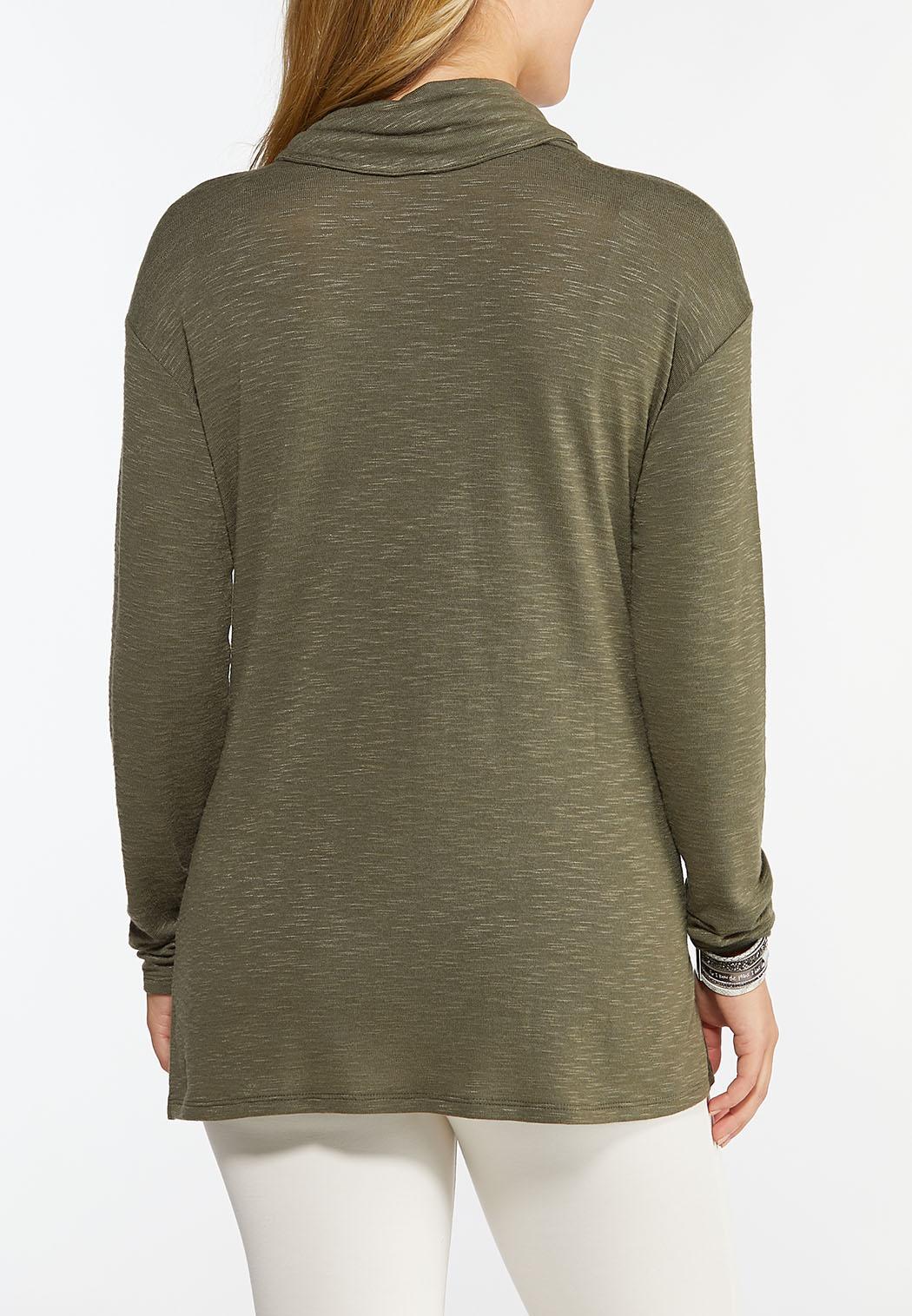 Button Cowl Neck Top (Item #44425147)