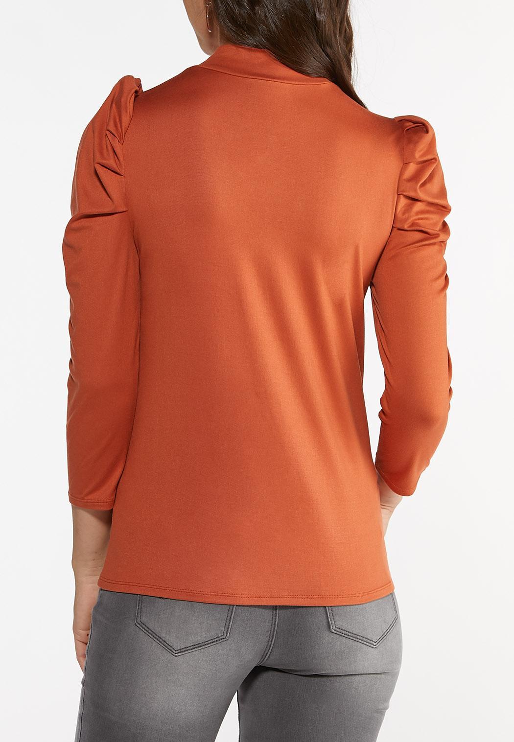 Puff Sleeve Mock Neck Top (Item #44425356)