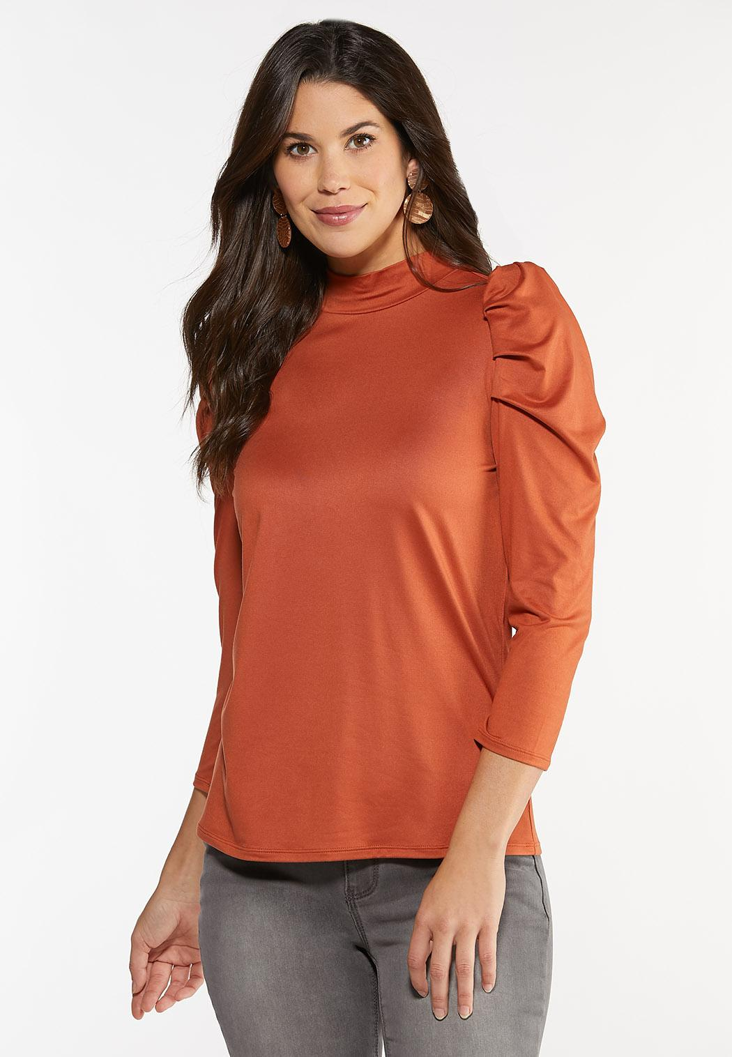 Plus Size Puff Sleeve Mock Neck Top (Item #44425432)