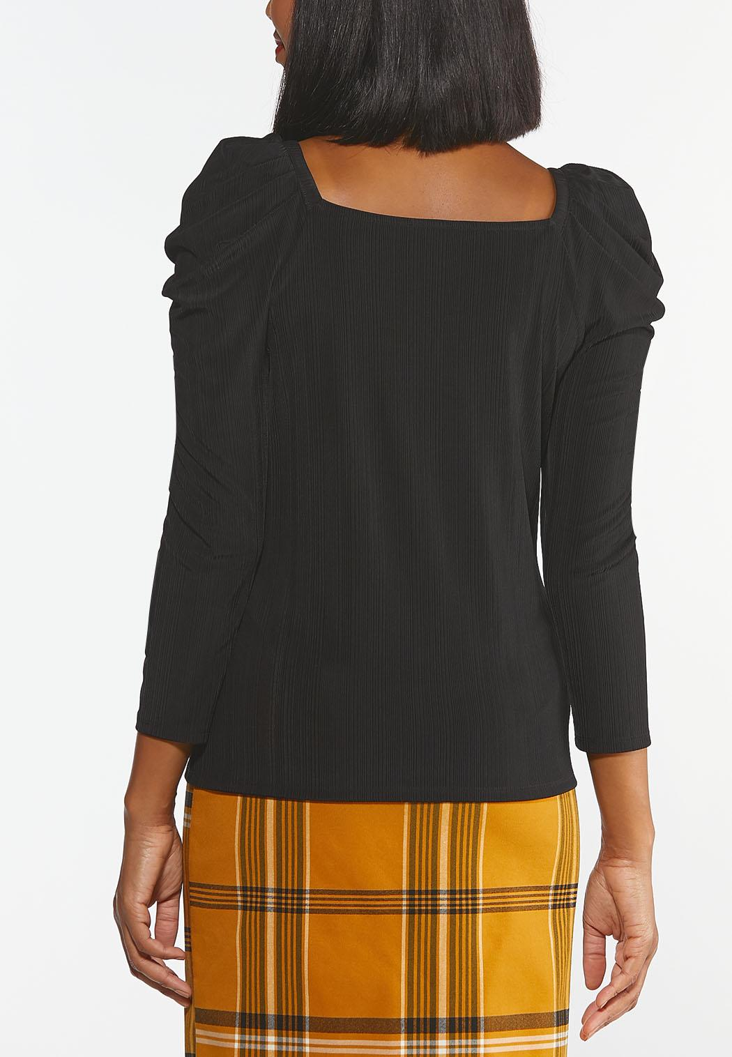 Plus Size Ribbed Puff Sleeve Top (Item #44426676)