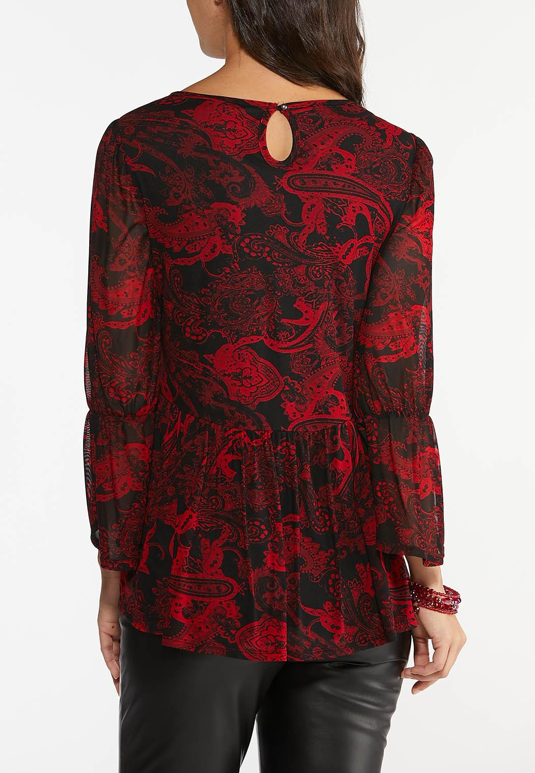 Plus Size Paisley Mesh Peplum Top (Item #44426831)