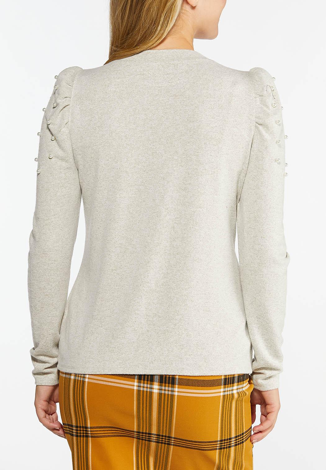 Plus Size Pearly Puff Sleeve Sweater (Item #44427932)