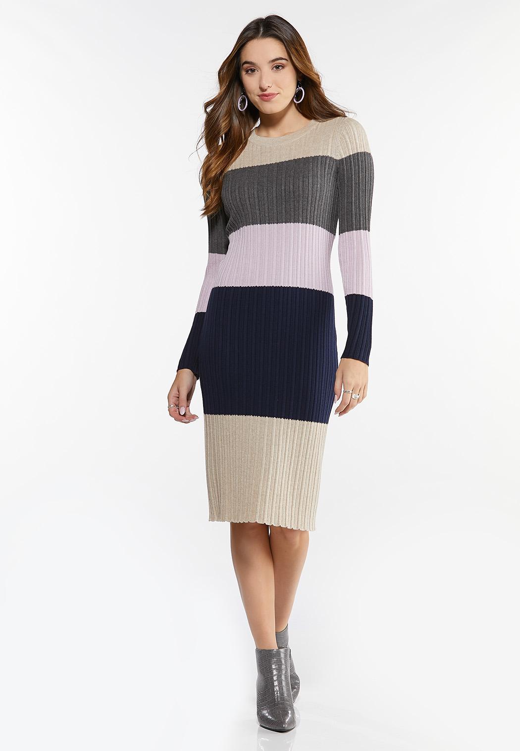 Ribbed Colorblock Sweater Dress (Item #44428589)