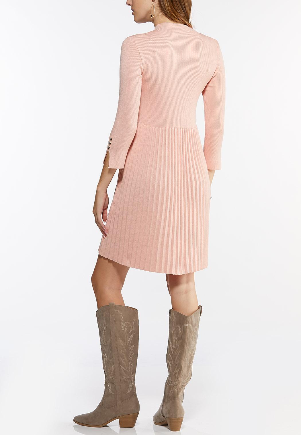 Plus Size Mock Neck Pleated Dress (Item #44429103)