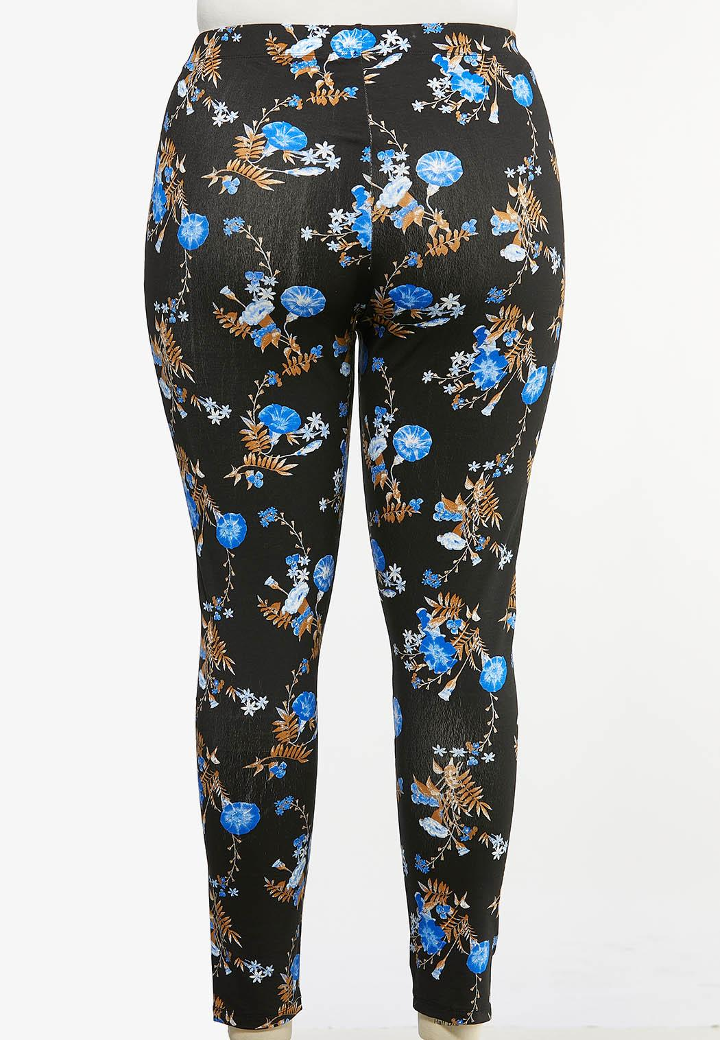Plus Size Blue Floral Leggings (Item #44430268)