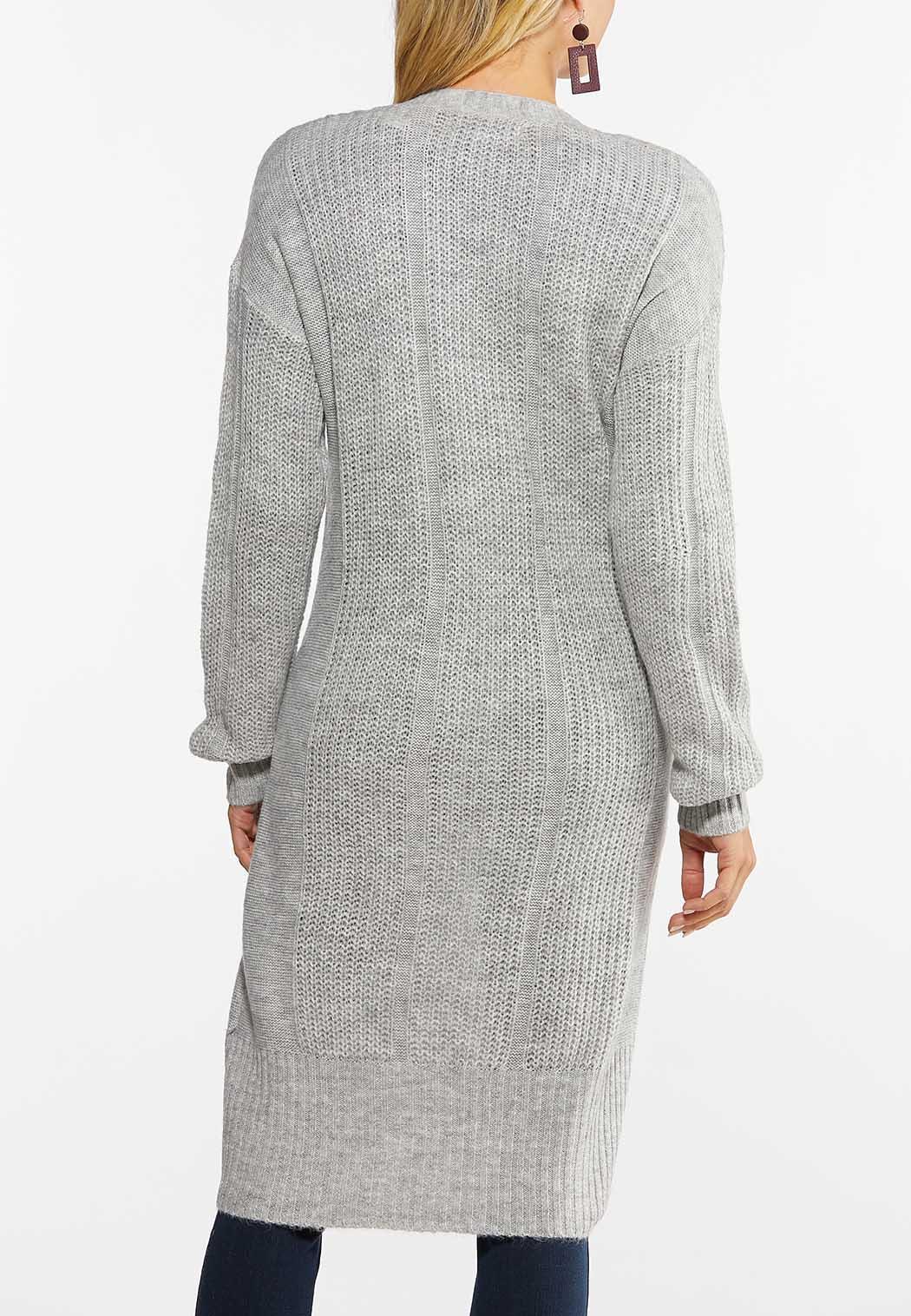 Plus Size Gray Cardigan Sweater (Item #44431074)