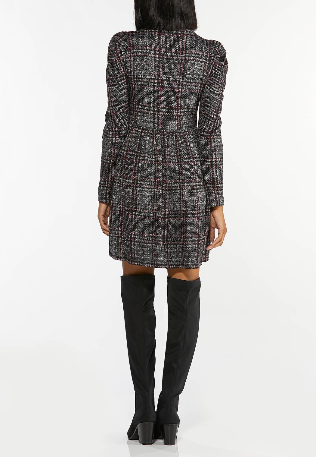 Plus Size Plaid Hacci Babydoll Dress (Item #44432227)