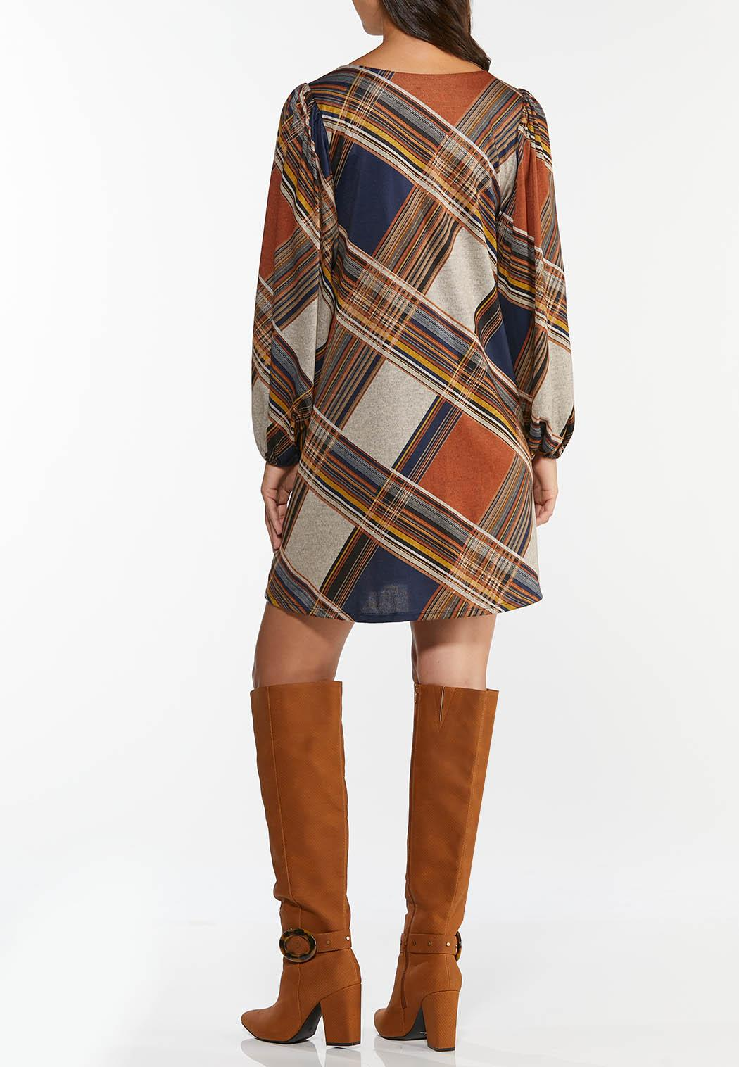 Plus Size Plaid Balloon Sleeve Dress (Item #44432322)