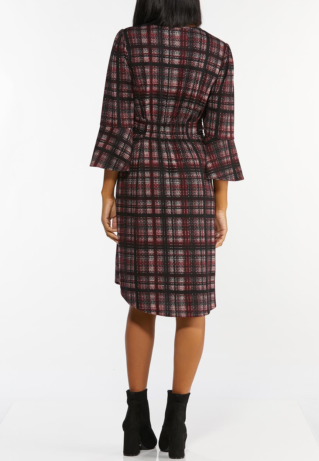 Plus Size Plaid Tie Waist Dress (Item #44432351)