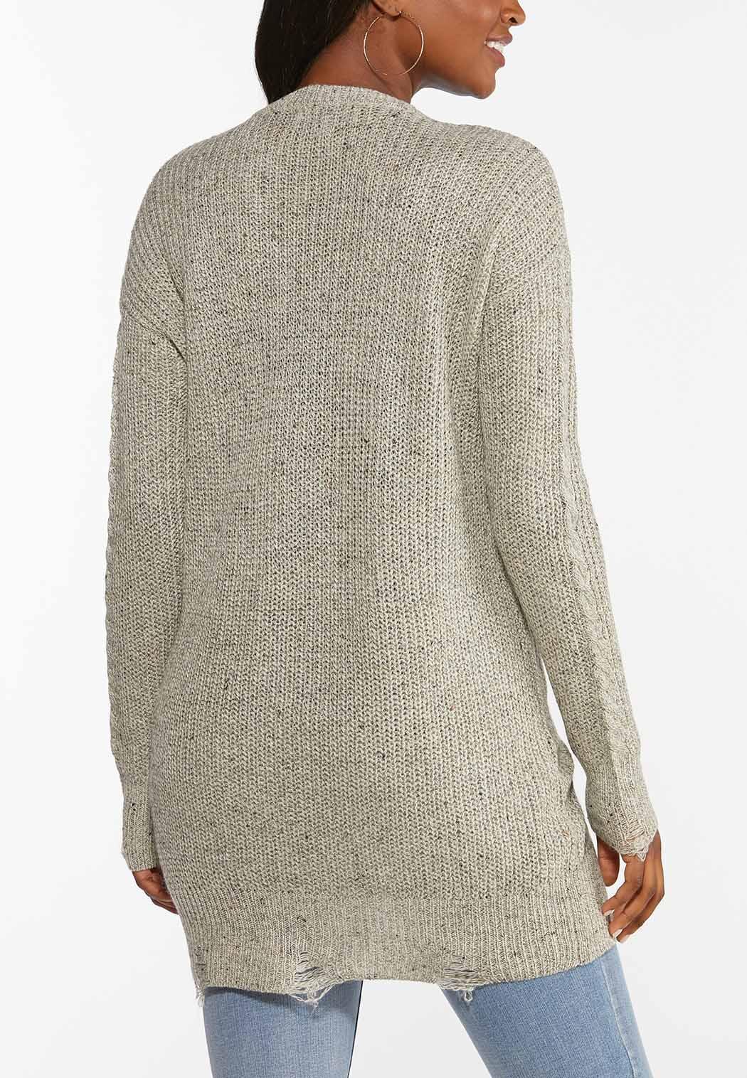 Plus Size Distressed Cardigan Sweater (Item #44432400)