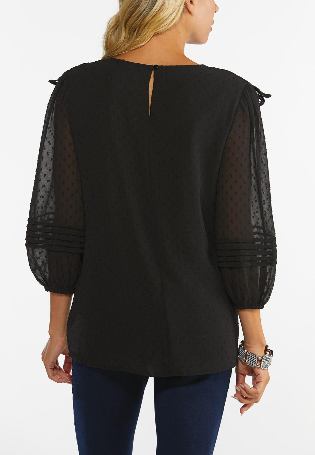 Plus Size Lacy Textured Dot Top (Item #44432809)