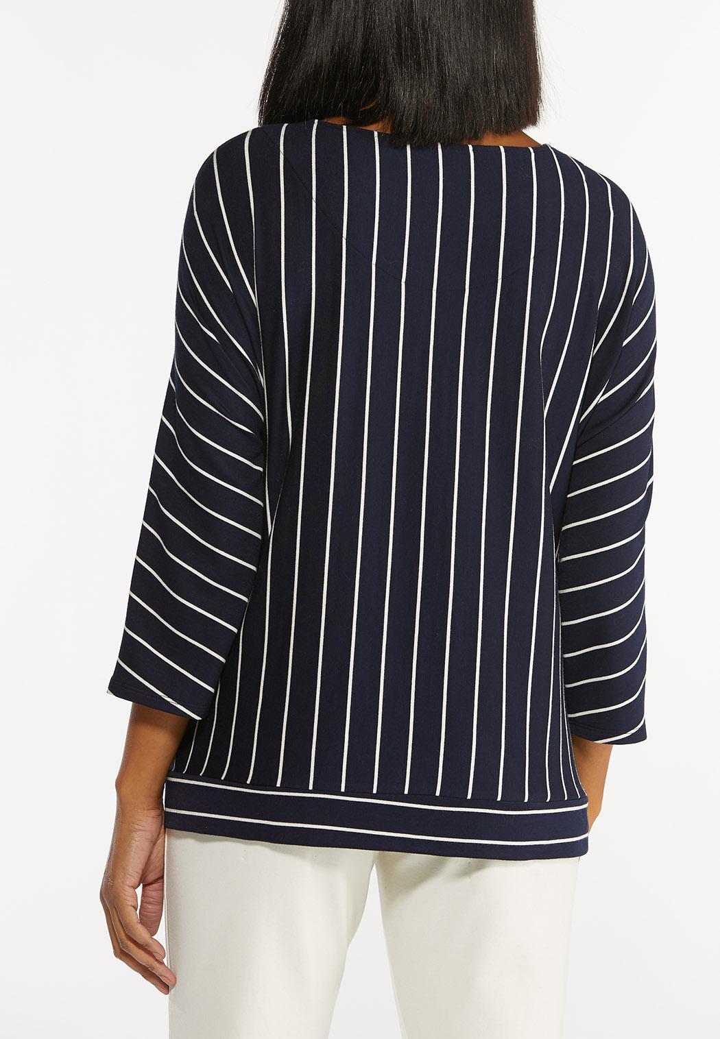 Plus Size Striped Tie Waist Top (Item #44434651)