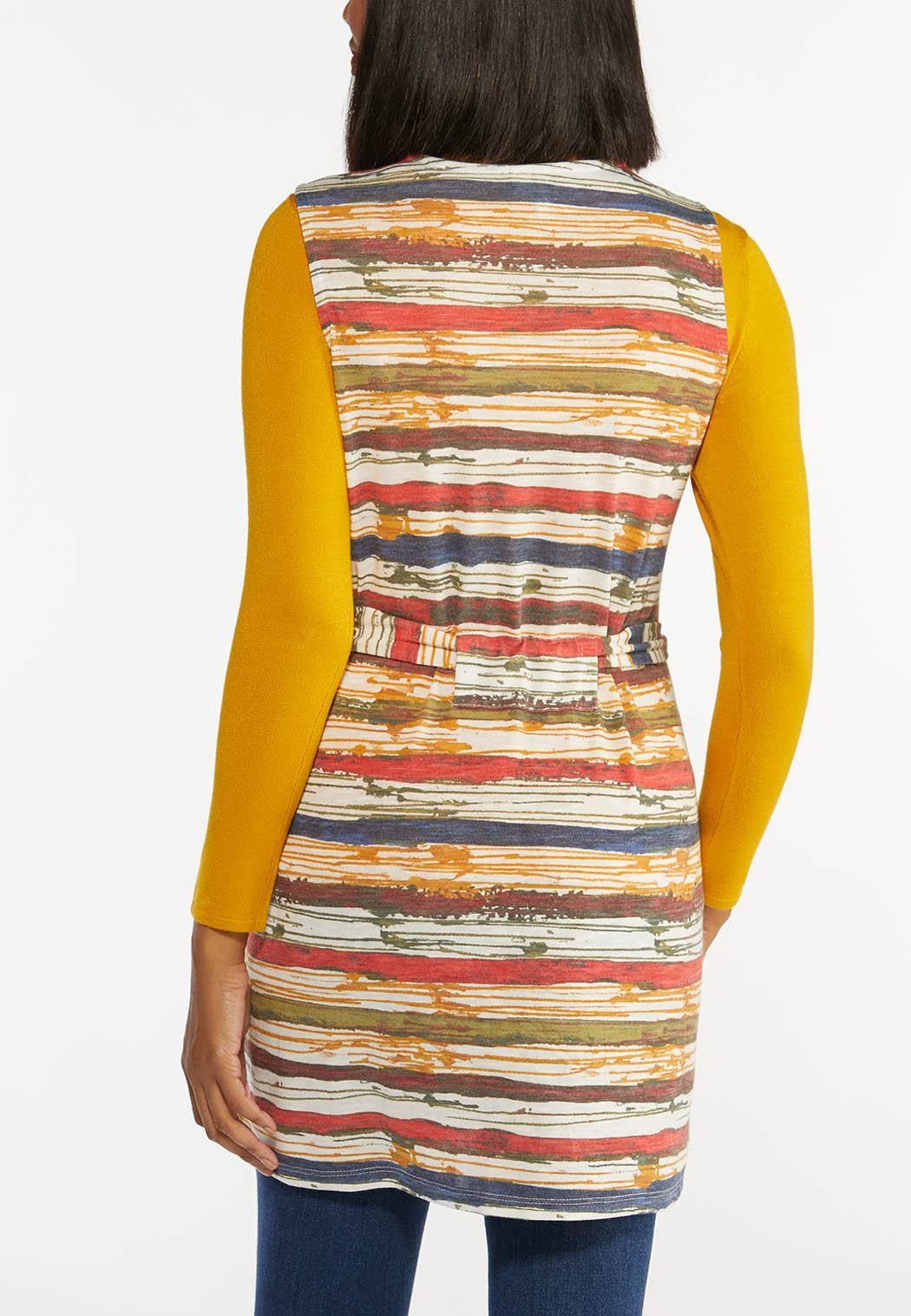 Plus Size Autumn Stripe Cardigan (Item #44434975)
