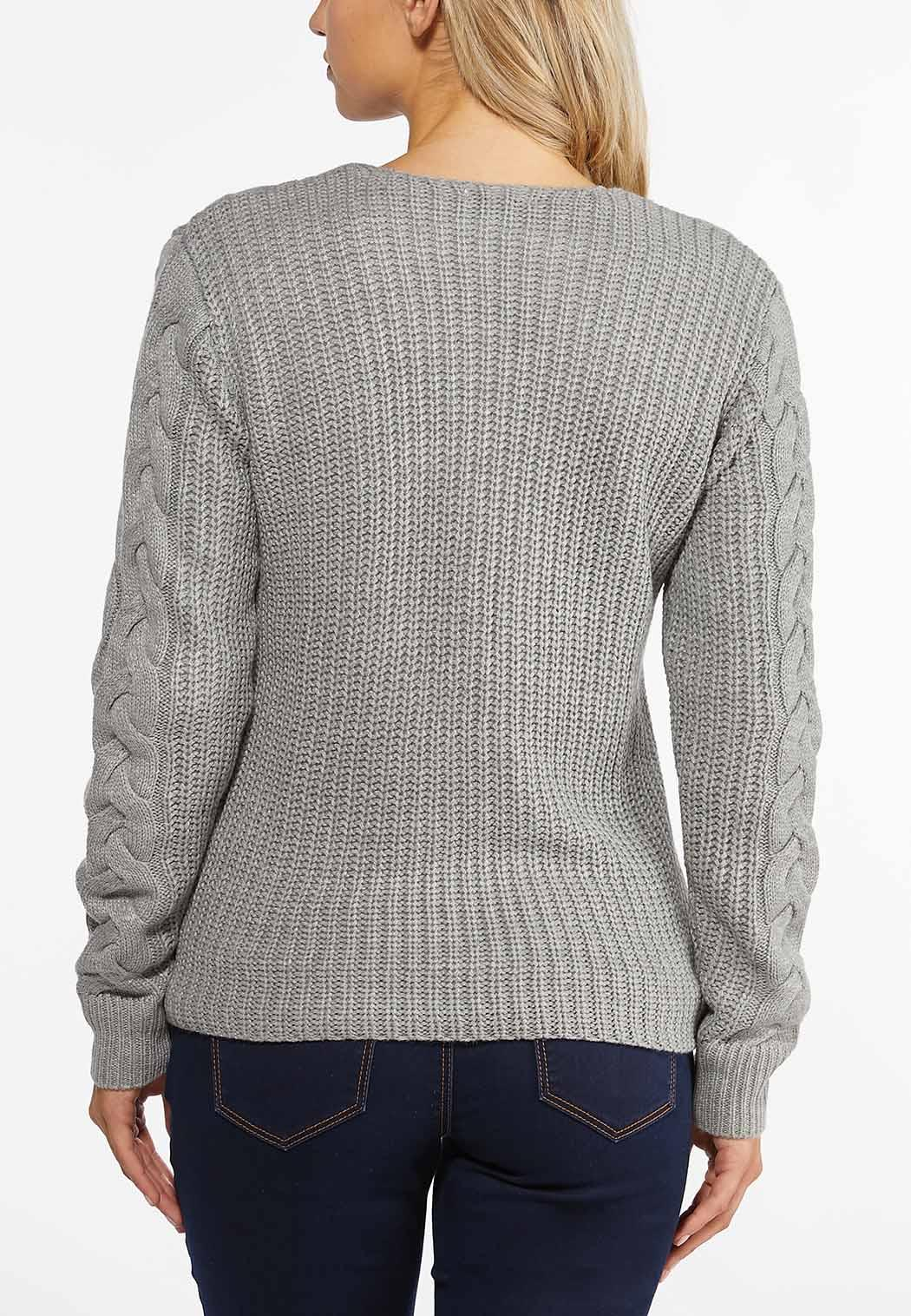 Plus Size Cable Knit Cardigan Sweater (Item #44435532)