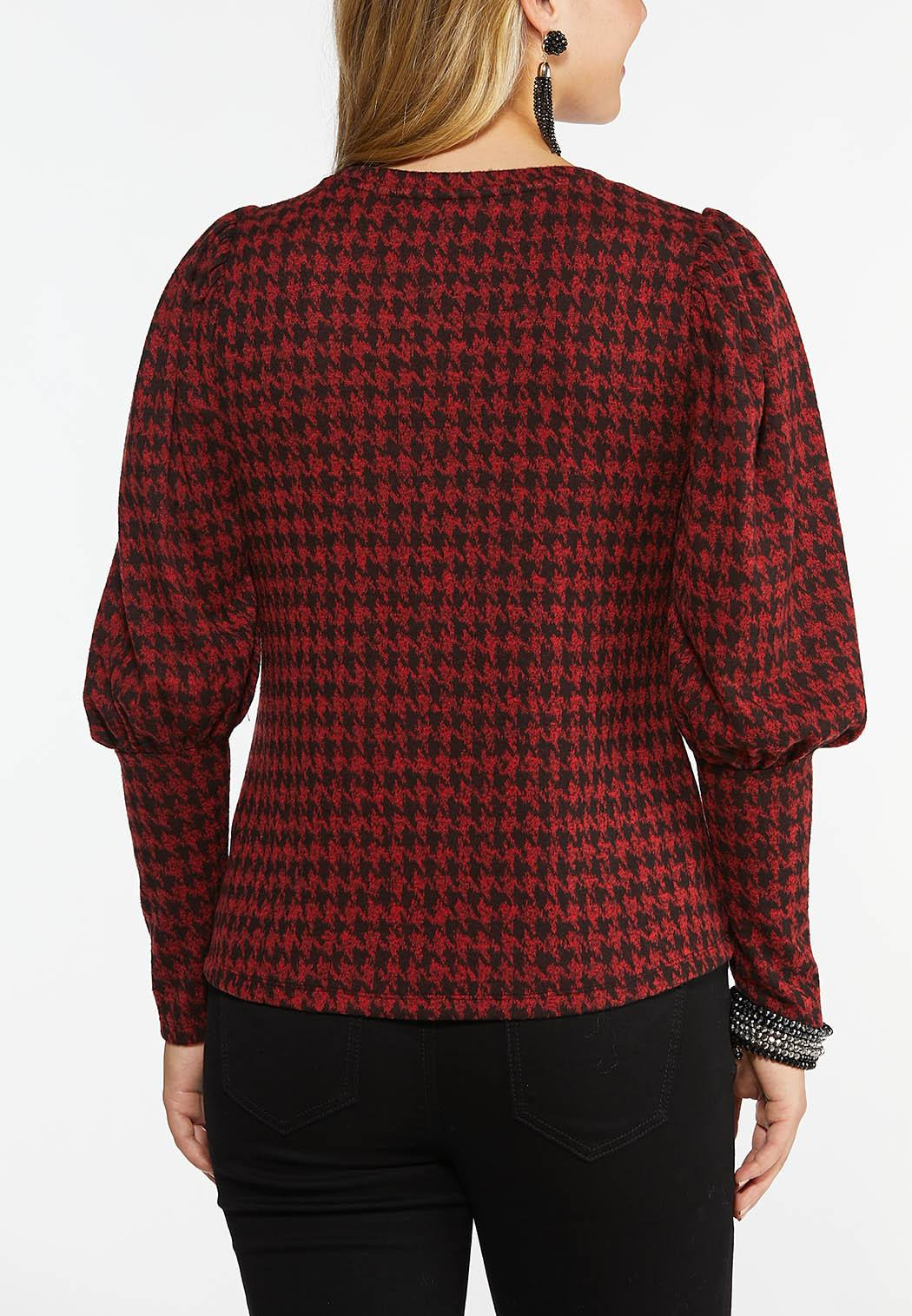 Plus Size Houndstooth Puff Sleeve Top (Item #44436114)
