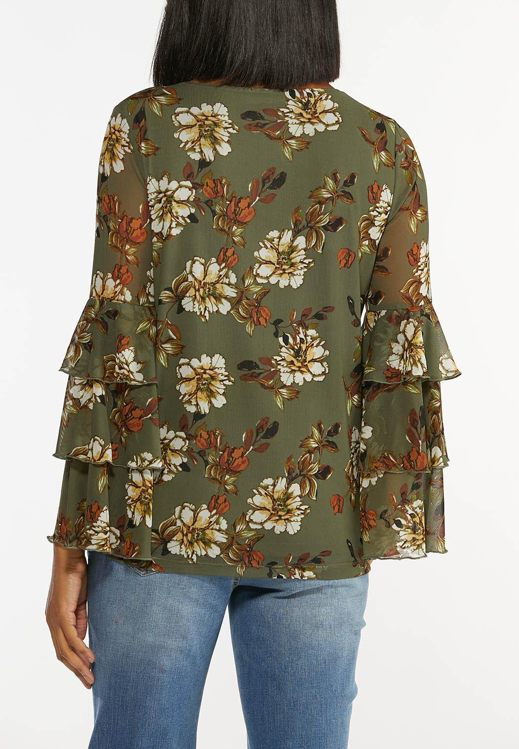 Plus Size Olive Mesh Floral Top (Item #44436145)