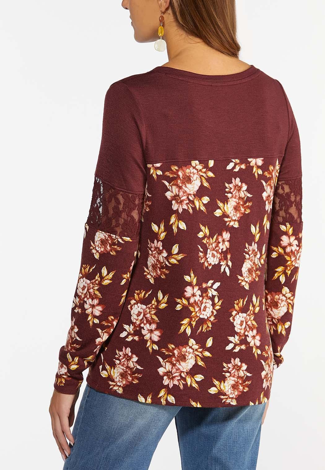 Floral Lace Sleeve Top (Item #44436208)