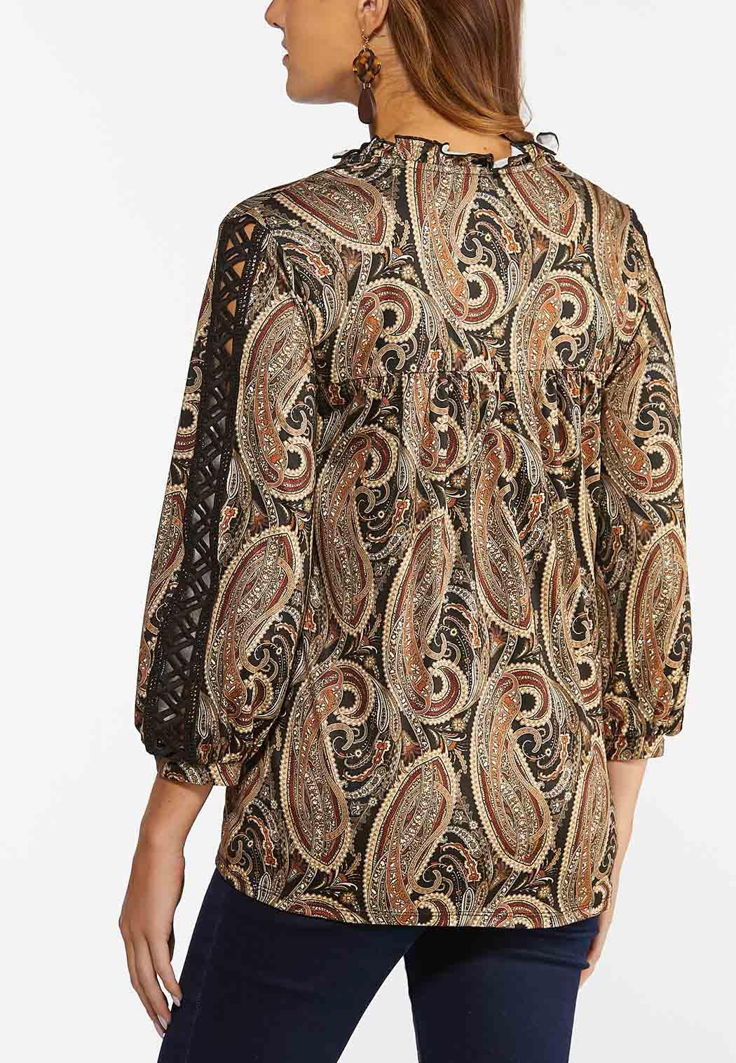 Plus Size Paisley Lace Inset Sleeve Top (Item #44436317)