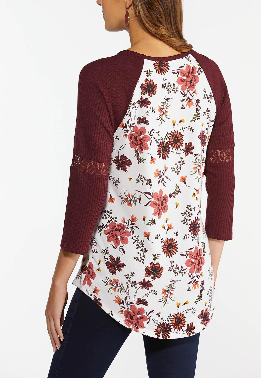 Wine Floral Baseball Tee (Item #44436451)