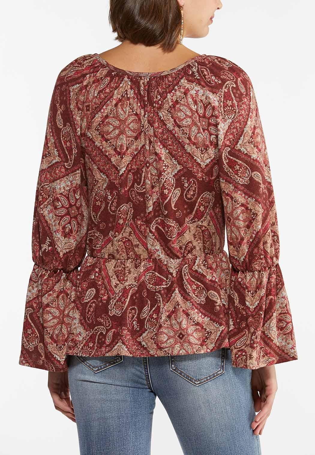 Plus Size Paisley Peplum Top (Item #44436595)