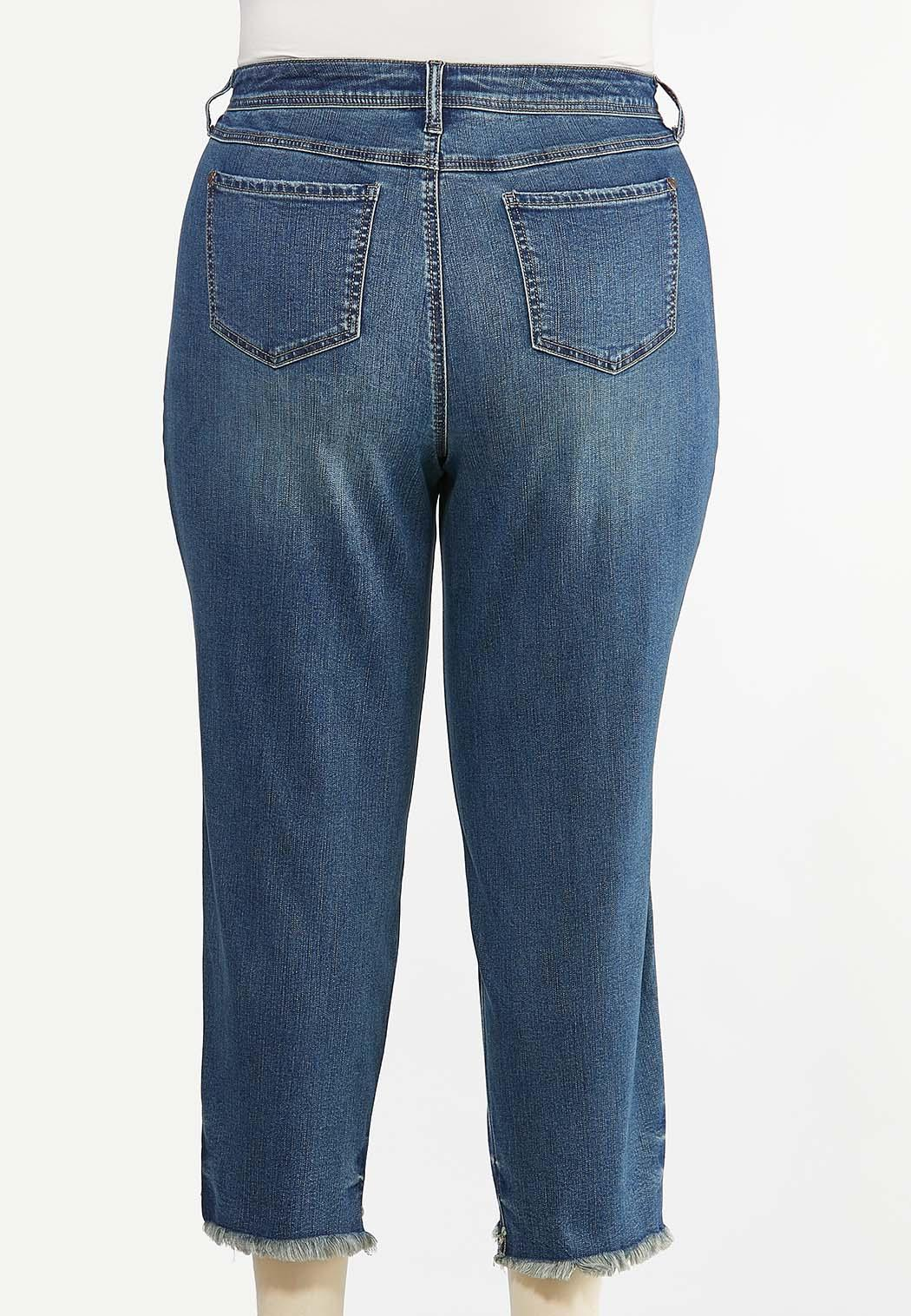 Plus Size Distressed Ankle Jeans (Item #44436861)