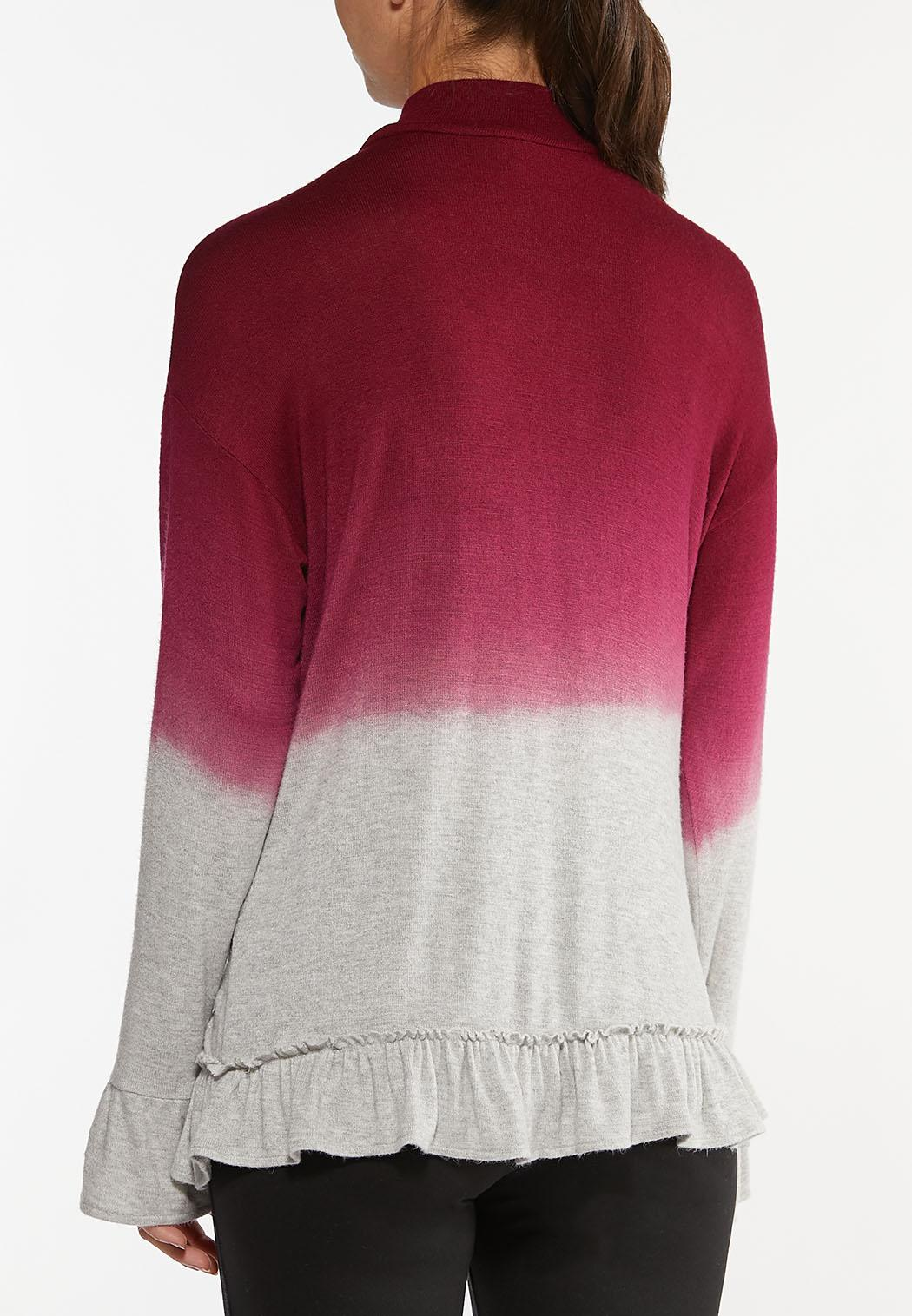 Plus Size Ruffled Ombre Hacci Top (Item #44437387)