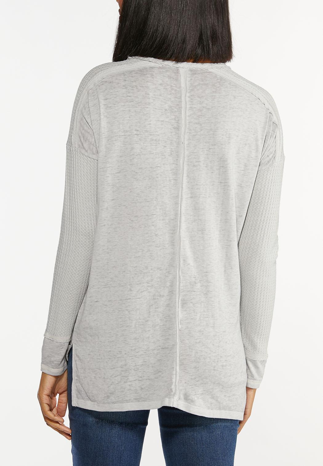 Plus Size Fearless Waffle Sleeve Shirt (Item #44437502)