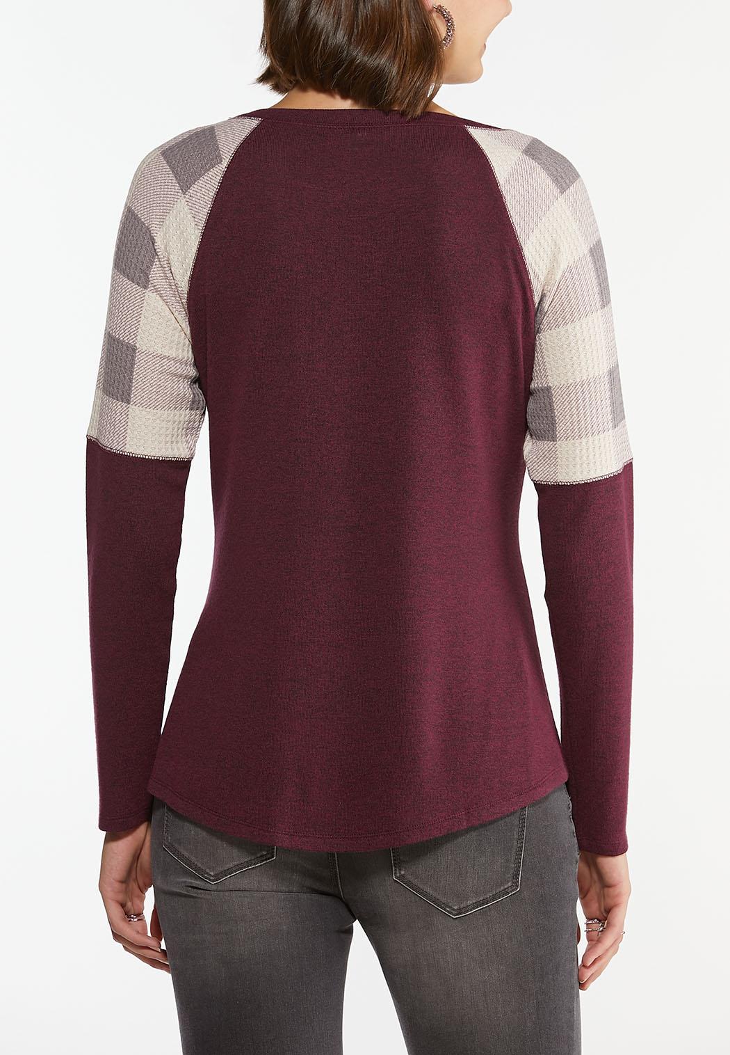 Plus Size Check Sleeve Raglan Top (Item #44438130)