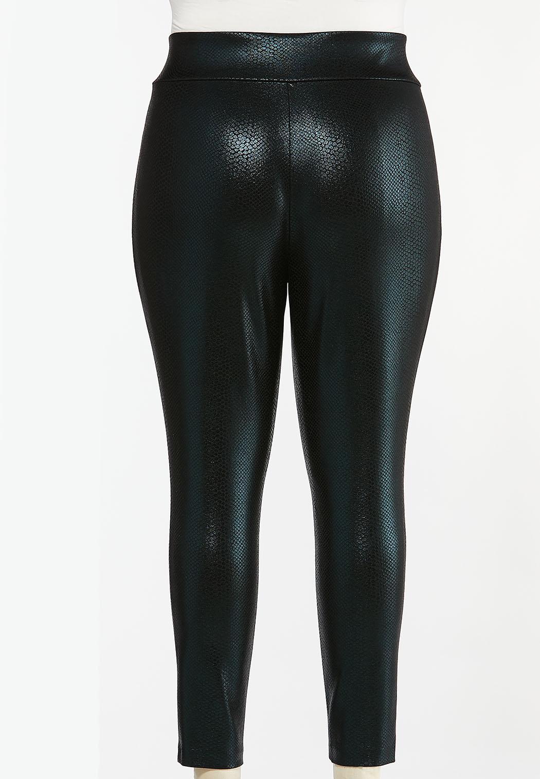 Plus Size Coated Snakeskin Leggings (Item #44439183)