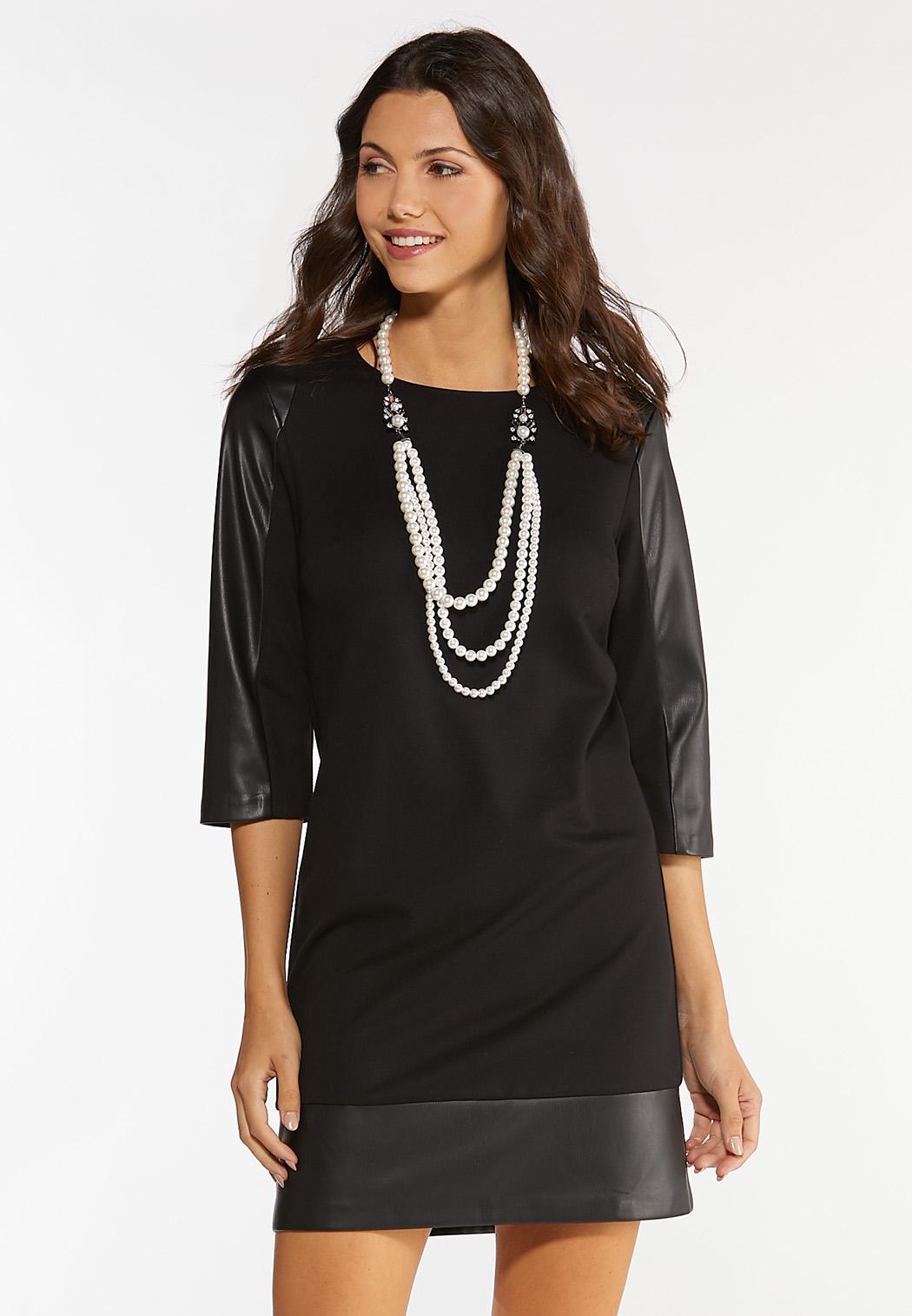 Plus Size Faux Leather Panel Ponte Dress (Item #44439336)
