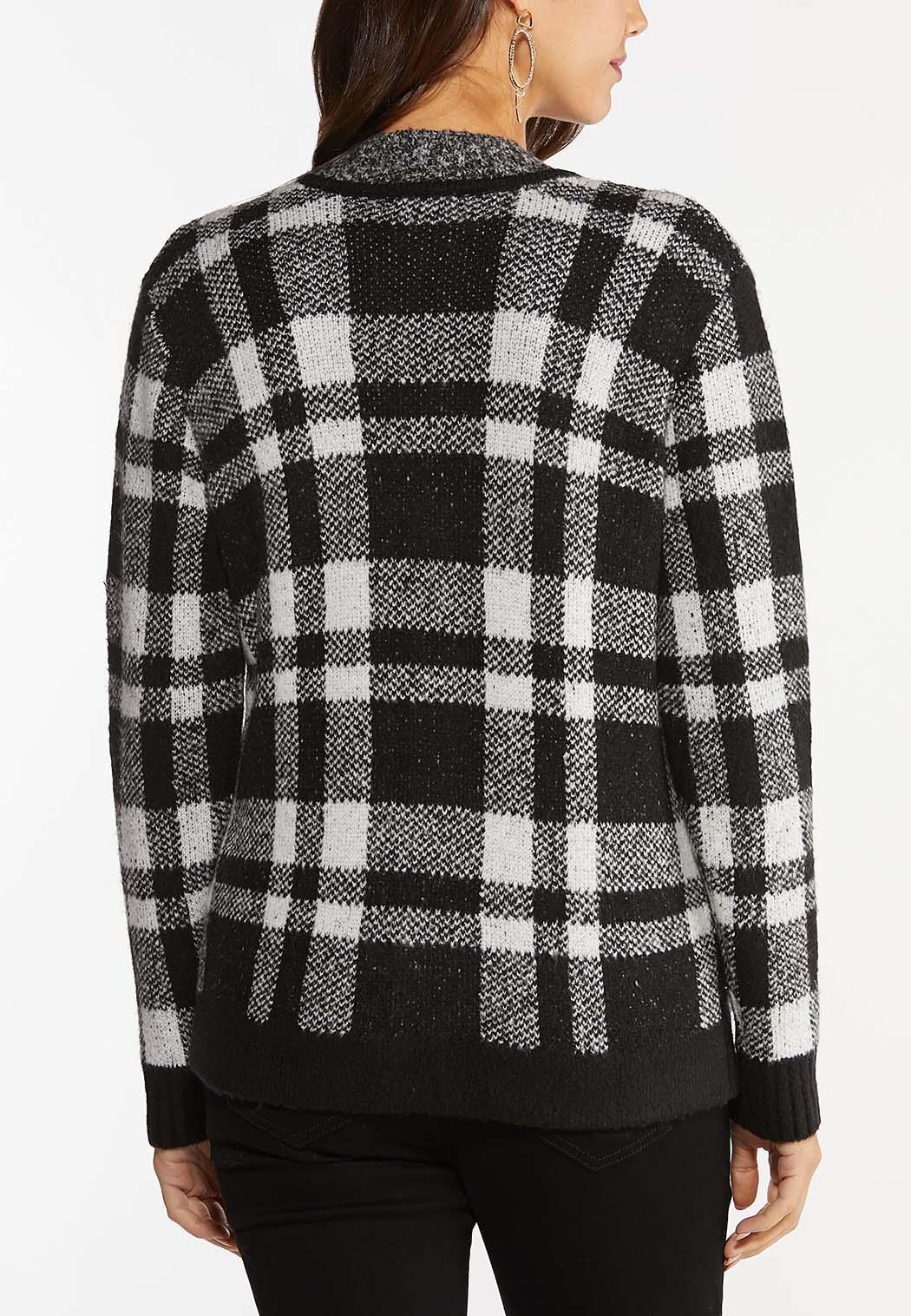 Plus Size Plaid Zip Cardigan Sweater (Item #44439769)
