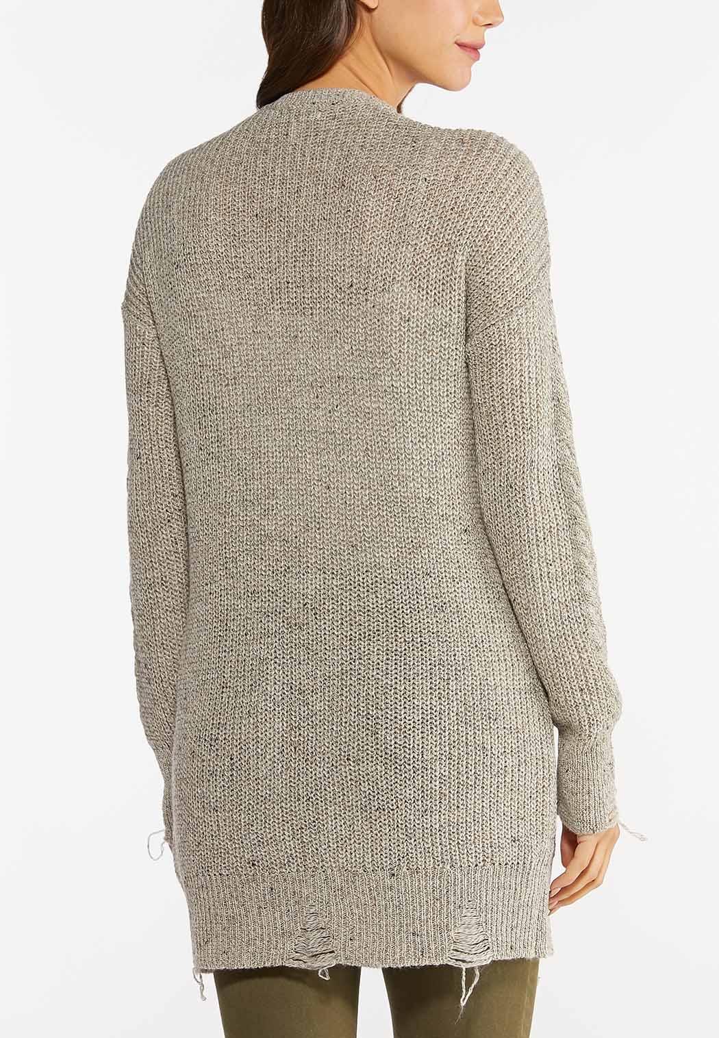 Plus Size Distressed Cardigan Sweater (Item #44439896)