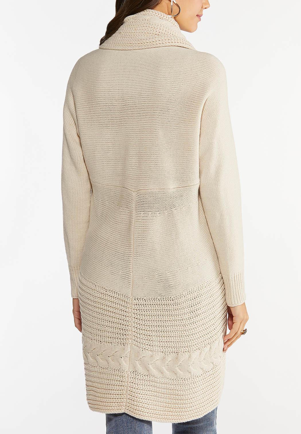 Plus Size Cable Collar Cardigan Sweater (Item #44439913)
